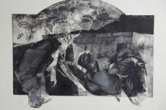 "Anna Kolos  ""Gone with the wind"" series Apocalypse, etching, size 85x81cm"
