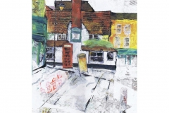 THE BOOT, ST ALBANS - Collage & Acrylic - Artist © Janet King